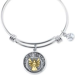 Unwritten Two-Tone Angel Charm Bangle Silver
